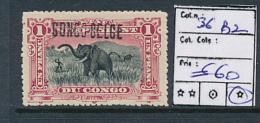 BELGIAN CONGO 1909 ISSUE BRUSSELS COB 36B2 LH - Belgisch-Kongo