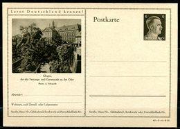 """German Empires1941 Kopfbild A.Hitler GS Mi.Nr.P305/42-5-1-B25 """"Lernt Deutschland Kennen!-Glogau-Festungsstadt""""1 GS - Allemagne"""