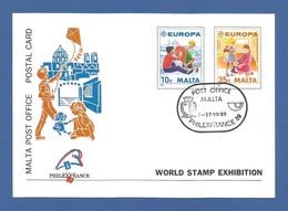 Malta 1989  Mi.Nr. 816/17 , Europa Cept - Kinderspiele - Ganzsache - Maximum Card - World Stamp Exhibition - Gestempelt - Europa-CEPT