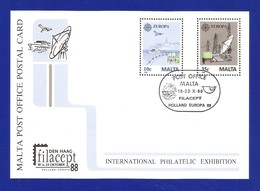 Malta 1988  Mi.Nr. 794/95 , Europa Cept - Transport - Ganzsache - Maximum Card - Intern. Philate Exhibition - Gestempelt - 1988