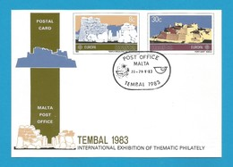Malta 1983  Mi.Nr. 680/81 , Europa Cept - Große Werke - Ganzsache - Maximum Card - Intern.Exhibition - Gestempelt - 1983