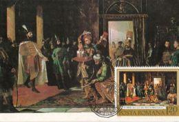 PAINTINGS, TH. AMAN- MESSENGERS AT KING MICHAEL THE BRAVE, CM, MAXICARD, CARTES MAXIMUM, OBLIT FDC, 1975, ROMANIA - Otros