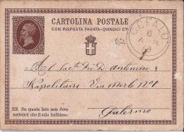 MG114) ITALIA REGNO 1879 - CP Risposta Pagata 15 Cent.Timbro CEFALU - 1861-78 Vittorio Emanuele II