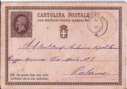 MG117) ITALIA REGNO 1877- CP Risposta Pagata 15CENT. Timbro Doppio Cerchio CEFALU' - 1861-78 Vittorio Emanuele II