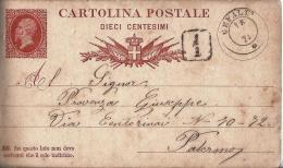 MG130) ITALIA REGNO- 1878 CP Vitt.Emanuele II Senza Cornice Timbro Doppio Cerchio CEFALU - 1861-78 Vittorio Emanuele II