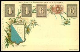 """DIE ERSTEN BRIEFMARKEN DER SCHWEIZ: Zürich 4 & 6 (1843) Sog.""""Winterthur"""" (1850) - Timbres (représentations)"""