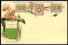 """LES PREMIERS TIMBRES-POSTE DE LA SUISSE: POSTE LOCALE 4+5C Dit """"VAUD"""" (1849/50) & 5 Centimes (1851) - Timbres (représentations)"""