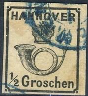 Germania Hannover 1860-62  UN N. 16 G. 1/2 Nero Usato Cat. € 250 - Hannover