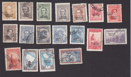 Argentina, Scott #O37-O53, Used, Regular Issues Overprinted, Issued 1938-54 - Service