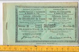 Od 622 - Loterie Officielle Carnet Complet. Exposition Universelle Et Internationale De Bruxelles En 1935 - 10 Billets - Biglietti Della Lotteria