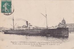 """Paquebot """" GENERAL CHANZY"""", Perdu Corps Et Biens Sur La Cote De Minorque Le 10 Février 1910 - Paquebote"""