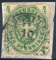 Germania Prussia 1861 UN N. 15 S. 4 Verde Usato Su Frammento Cat. € 10 - Preussen