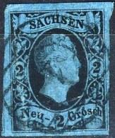 Germania Sachsen 1851 - 52 UN N. 4  N. 2 Azzurro Scuro Usato Cat. € 60 - Sachsen