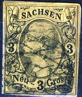 Germania Sachsen 1855 UN N. 10 N. 3 Giallo Usato Cat. € 20 - Sachsen