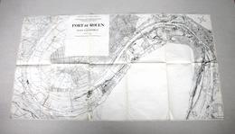 RARE ANCIEN PLAN - CARTOGRAPHIE CARTE GEOGRAPHIQUE - PORT DE ROUEN - 113 X 61 Cm - Disegno Tecnico