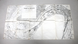 RARE ANCIEN PLAN - CARTOGRAPHIE CARTE GEOGRAPHIQUE - PORT DE ROUEN - 113 X 61 Cm - Other Plans