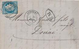 """20 C Bleu Obl Bureau De Passe 1307 + BM Sur Devant Cachet """"Aiserey"""" TB. - 1870 Siege Of Paris"""