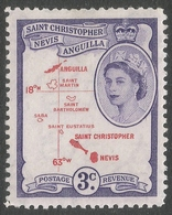 St Kitts-Nevis. 1954-63 QEII. 3c MH. SG 109 - St.Christopher-Nevis-Anguilla (...-1980)