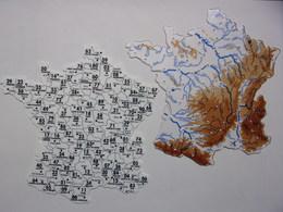 Carte De France Plastique - Lot De 2 Cartes Géographiques 16 Cm X 16 Cm - Fleuves Départements Montagnes - Other Collections