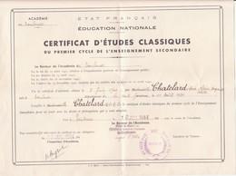 Diplôme - Certificat D'études Classiques Du Premier Cycle Enseignement Secondaire De M. CHATELARD Anne Claire.......... - Diplomi E Pagelle
