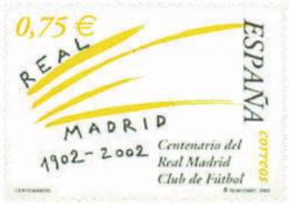 Ref. 90528 * NEW *  - SPAIN . 2002. CENTENARY OF REAL MADRID FOOTBALL CLUB. CENTENARIO DEL REAL MADRID CLUB DE FUTBOL - 1931-Today: 2nd Rep - ... Juan Carlos I
