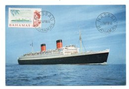 GF Carte Maximum 094, Bahamas 1966, Paquebot Queen Elisabeth, Bateau - Bahamas (...-1973)