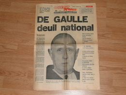 OUEST FRANCE - DE GAULLE DEUIL NATIONAL -  Mercredi 11 Novembre 1970 - - Kranten