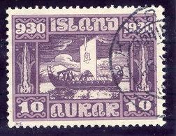 ICELAND 1930 Millenary Of Parliament 10 Aur. Used  Michel 128 - 1918-1944 Autonomous Administration