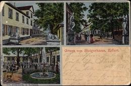 Cp Erfurt In Thüringen, Steigerhaus, Terrasse, Springbrunnen, Straßenansicht - Sonstige
