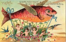 """ANGES ANGELOTS 1 ER AVRIL """"LA NACELLE D'AMOUR EMPORTE JEUNES COEURS QUI POUR SE FAIRE AIMER VOUS ASSAILENT DE FLEURS - Angels"""