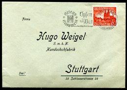 """German Empires,DR 1940 Firmen Heimatbeleg Stuttgart Mit Mi.Nr.749 Und Propaganda MWST""""Stuttgart-Opfere Auch DU.""""1 Beleg - Alemania"""