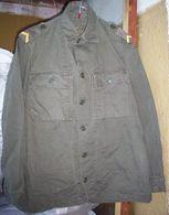 Vintage 1974 Dutch Military Field Combat Olive Cotton Jacket With Epaulets - Uniformes