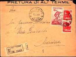 87515) Lettera Con 35l.Giochi Della XVII Olimpiade+2x40l. Michelangiolesca Da Alì Terme A Messina Il-15/5/1961 - 6. 1946-.. Repubblica