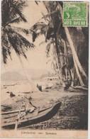 CPA INDONESIA INDONESIA SUMATRA Bord De Mer Beach Timbre Stamp 1936 - Indonésie