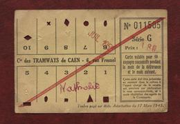 Caen - Carte De Transport Tramway - Juillet 1955 - Utilisée - Tram