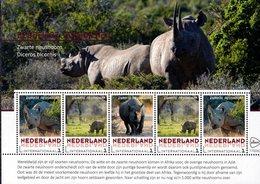Netherlands - 2018 - Endangered Mammals - Black Rhinoceros - Mint Souvenir Sheet - Ungebraucht