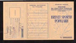 """Carte 3 Volets """"Brevet Sportif Populaire"""" Avec Timbre 1958 - Diplomi E Pagelle"""