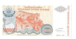 Croatia RSK Knin  5.000.000  Dinara  1993 UNC SET 10 Pcs - Croatie