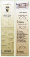 Chouette Sur Marque-page. Owl On Bookmark. 70 Ans Bibliothèque Sarajevo. 70 Years Sarajevo Library. - Marque-Pages