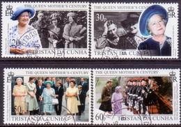 TRISTAN DA CUNHA 1999 SG #657-61 Compl.set+m/s Used Queen Mother's Century - Tristan Da Cunha