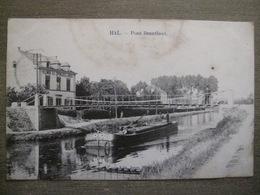 Cpa Hal Halle - Pont Branlant - Klimis Fabrique D'éponges En Gros - Péniche - Marcovici Bruxelles - Halle
