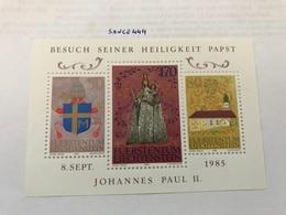 Liechtenstein Visit Of Pope John Paul II S/s 1985 Mnh - Liechtenstein
