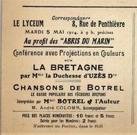 LE LYCEUM - 8 RUE DE PENTHIEVRE. AU PROFIT DES ABRIS DU MARIN . MARDI 5 MAI 1914 - Programmi