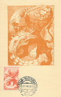 D33226 CARTE MAXIMUM CARD RR 1945 NETHERLANDS - DUTCH HERALDIC LION WW II FIGHTING THE DRAGON CP ORIGINAL - WW2