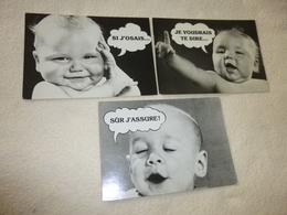 LOT DE 3 CARTES HUMORISTIQUES..MESSAGES DE BEBES... - Humour