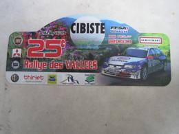 PLAQUE DE RALLYE   25 Eme RALLYE DES VALLEES   Remiremont - Plaques De Rallye