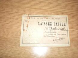 Laissez Passer, Postes Et Telegraphes - Historical Documents