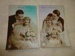 2 CARTES ..ILLUSTRATIONS ..JEUNE COUPLE..MARIES...SINCÈRES FÉLICITATIONS - Noces