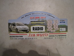PLAQUE DE RALLYE    36 Eme RALLYE NATIONAL DE LA LURONNE 2011 - Rallye (Rally) Plates