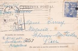SPAIN L'ESPAGNE. CARTE POSTALE CIRCULEE BARELONA TO FRANCE. 1945.-TBE-BLEUP - Barcelona
